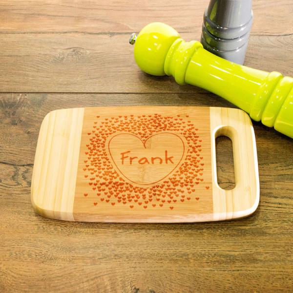 Graviertes Frühstücksbrett aus Holz mit Griff zum Vatertag
