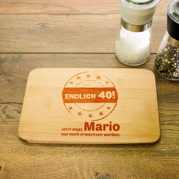 Personalisiertes Frühstücksbrettchen zum 40.