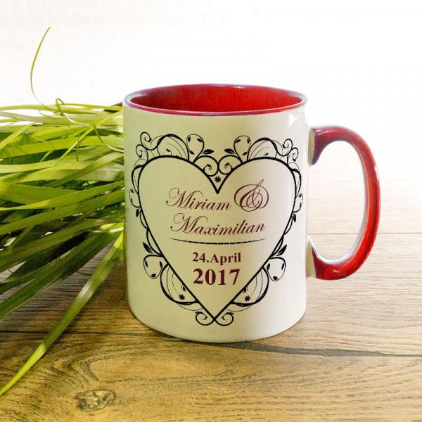 Tasse mit Namen und Datum Anlass/Liebe