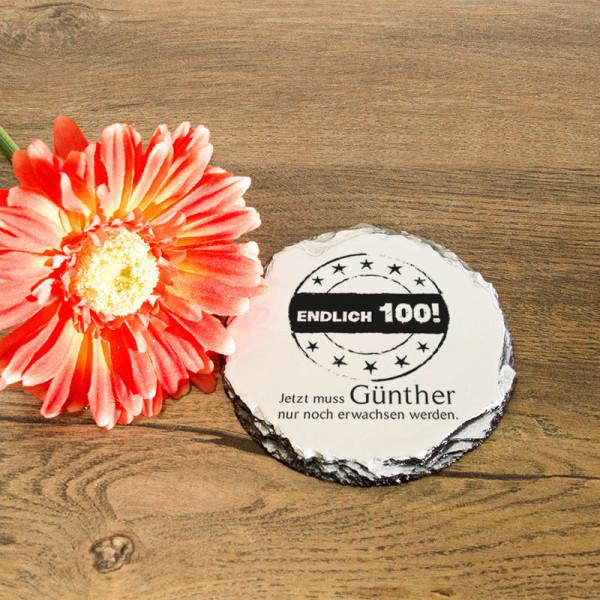 Personalisierter runder Tassenuntersetzer aus Granit zum 100.