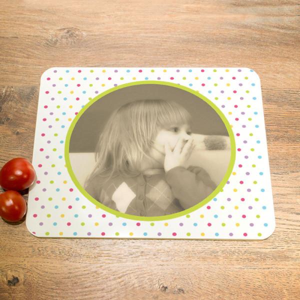 Schneidebrett aus Glas mit Wunschmotiv für Kinder