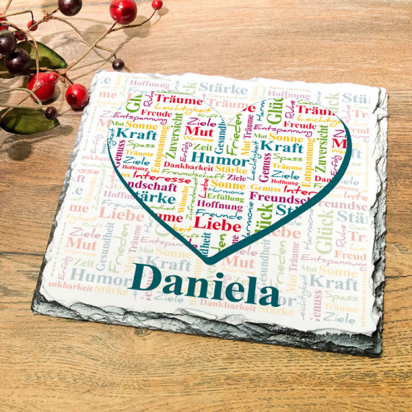 Granitplatte mit Wünscheherz zum Geburtstag