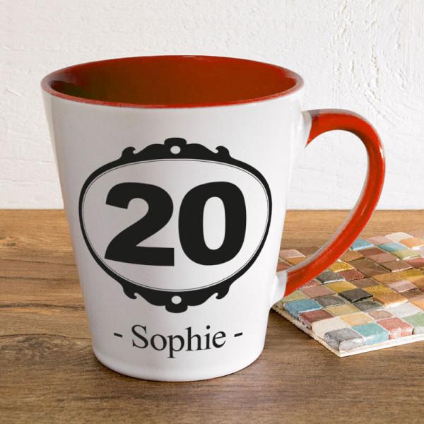 Tasse FUNNY Latte klein mit Wunschmotiv zum 20.