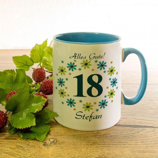 Tasse mit Wunschmotiv zum 18.