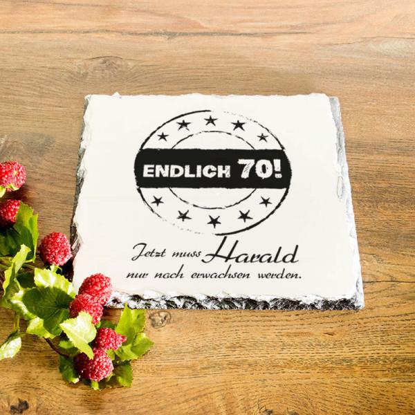 Platte aus Granit mit Wunschmotiv zum 70.