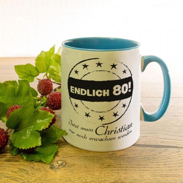 Tasse mit Wunschmotiv zum 80.