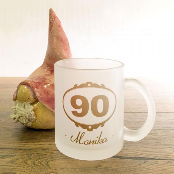 Glastasse satiniert mit Wunschmotiv zum 90.