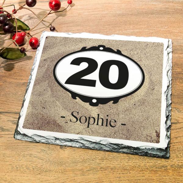 Personalisierte Granitplatte zum 20.