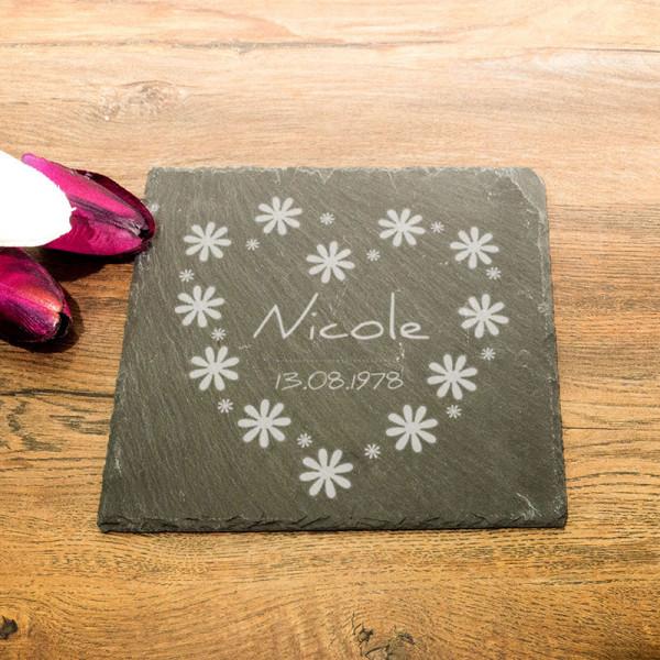 Personalisierte eckicke Schieferplatte für Frauen