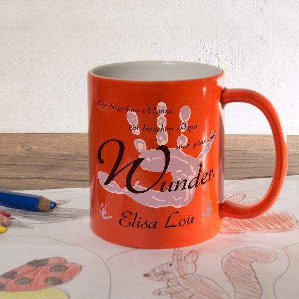 Orange Zaubertasse mit Name und Wunschmotiv für Kinder