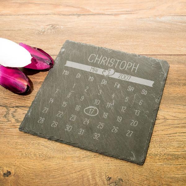 Personalisierte eckicke Schieferplatte mit Kalender für Männer