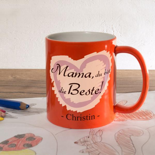 Orange Zaubertasse mit Wunschmotiv zum Muttertag