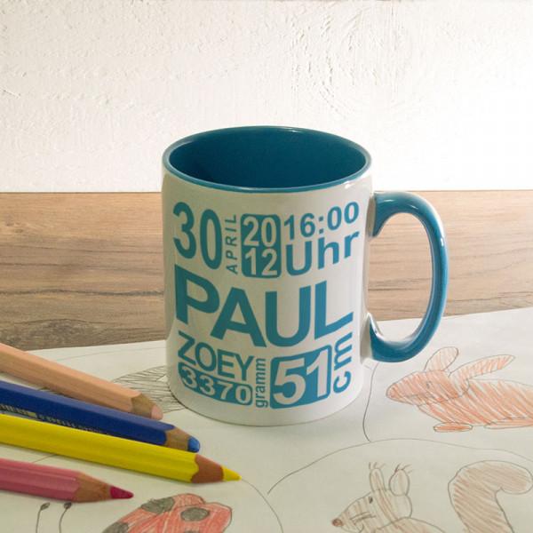 Personalisierte Tasse zur Geburt