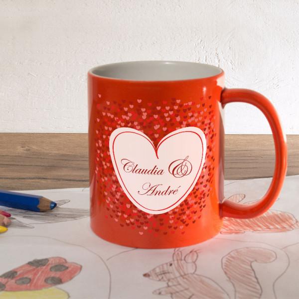 Orange Zaubertasse mit Namen zur Hochzeit