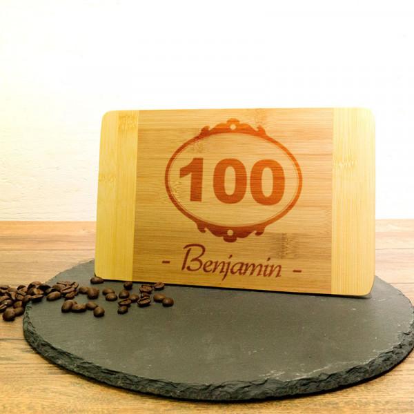 Personalisiertes Schneidebrett aus Holz zum 100.