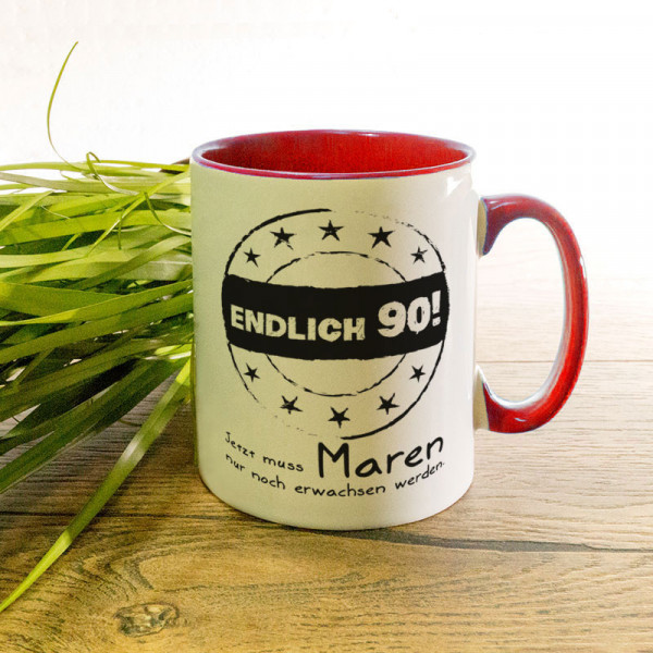 Tasse zum 90. mit Wunschmotiv
