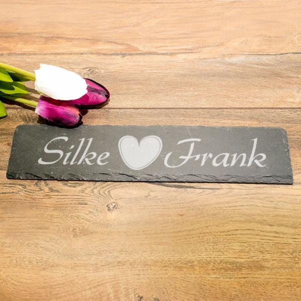 RechtEckige Schieferplatte mit Gravur zur Hochzeit