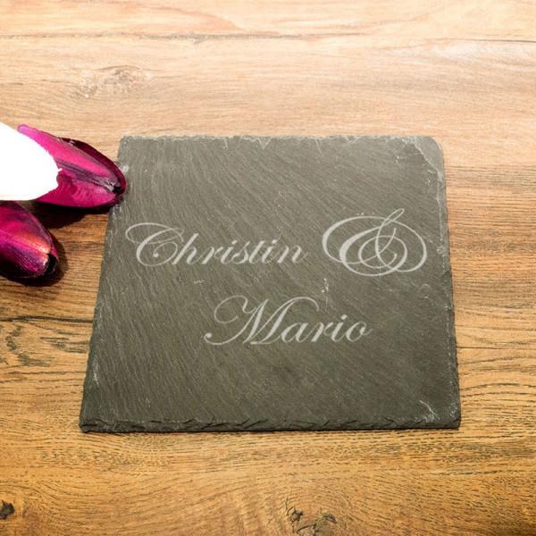 Eckige Schieferplatte mit Gravur zur Hochzeit
