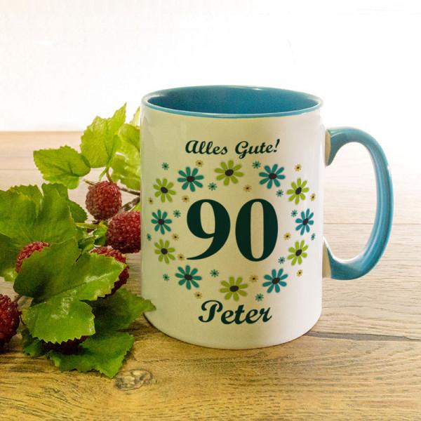 Tasse mit Wunschmotiv zum 90.