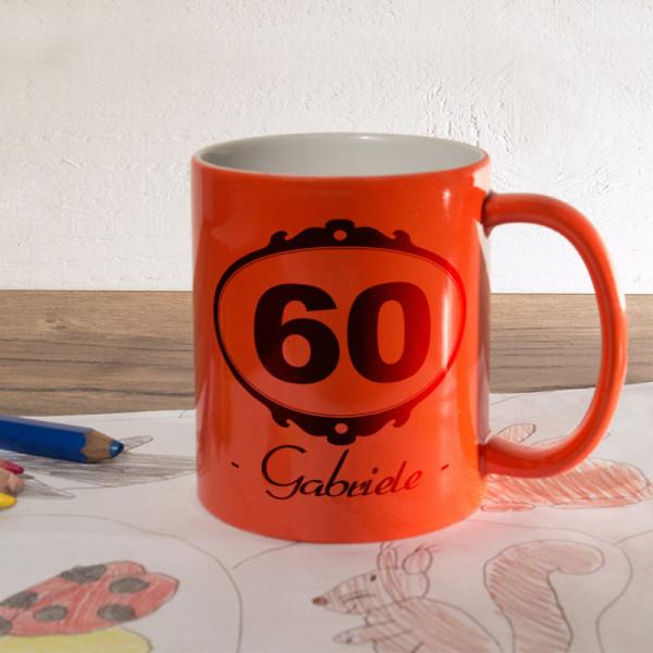 Orange Zaubertasse mit Wunschmotiv zum 60.