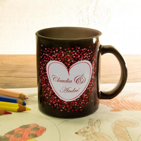 Glas Zaubertasse satiniert mit Wunschmotiv Anlass/Liebe