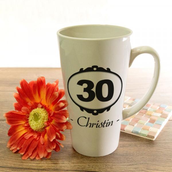 Tasse Latte groß mit Wunschmotiv zum 30.