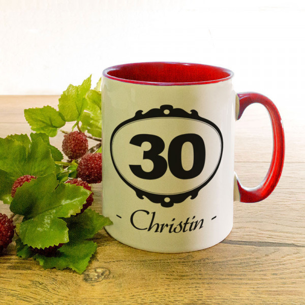 Tasse mit Wunschmotiv zum 30.