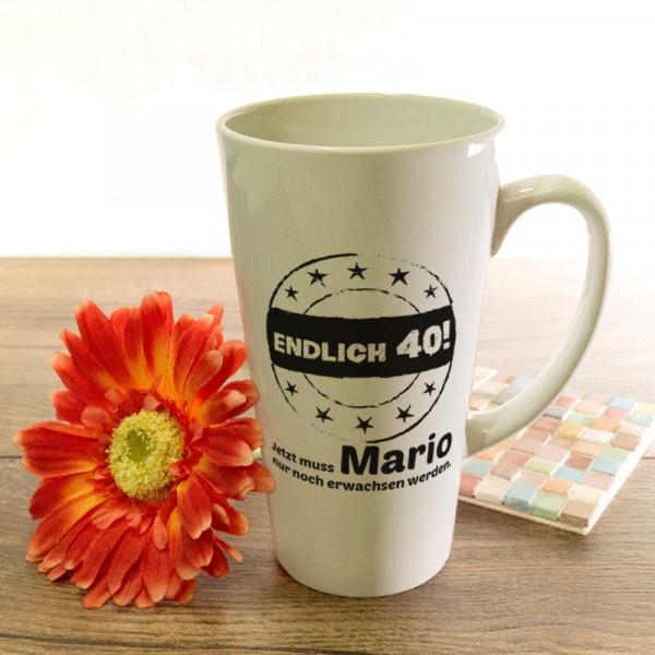 Personalisierte große Tasse Latte zum 40.