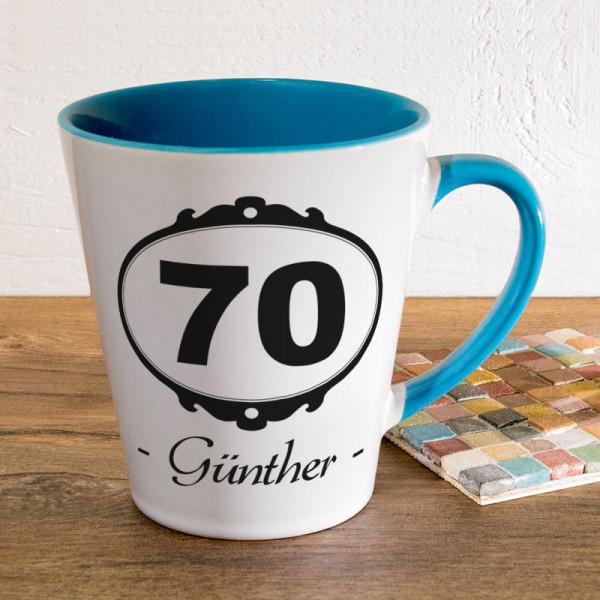 Personalisierte Tasse FUNNY Latte klein zum 70.