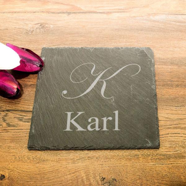 Personalisierte eckicke Schieferplatte zum Vatertag