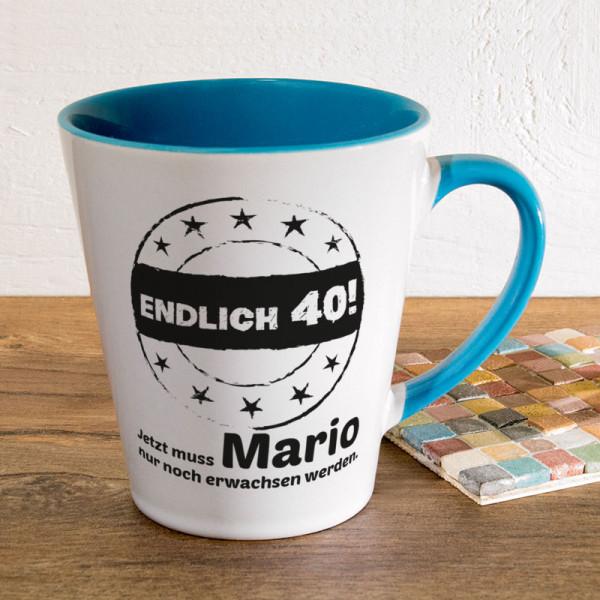 Personalisierte Tasse FUNNY Latte klein zum 40.