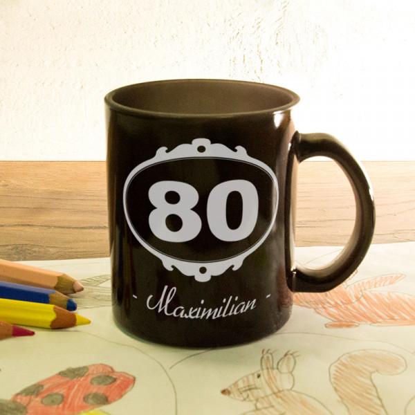Glas Zaubertasse satiniert mit Wunschmotiv zum 80.
