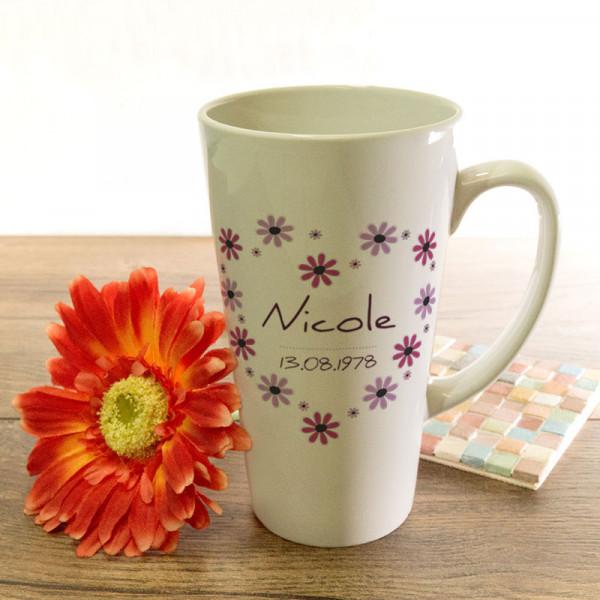 Personalisierte große Tasse Latte für Frauen