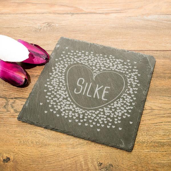 Eckige Schieferplatte mit Gravur zum Muttertag