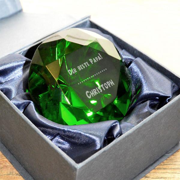 Diamant aus Kristallglas mit Gravur zum Vatertag