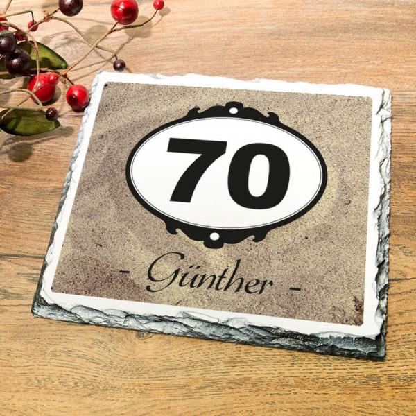 Personalisierte Granitplatte zum 70.