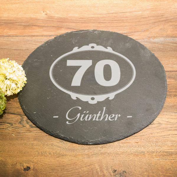 Runde Schieferplatte mit Wunschmotiv zum 70.
