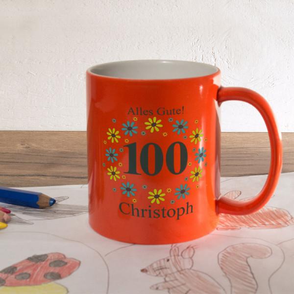 Personalisierte orange Zaubertasse zum 100.