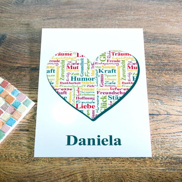 Karte Din A5 aus Blech mit Wunschmotiv zum Geburtstag