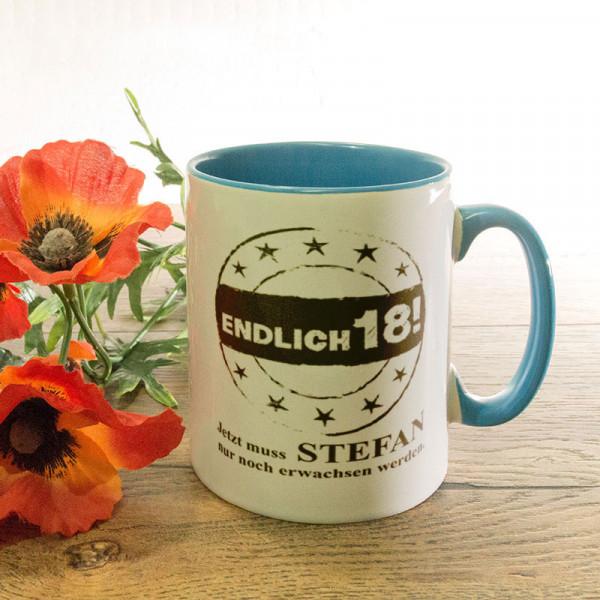 Personalisierte Tasse zum 18.