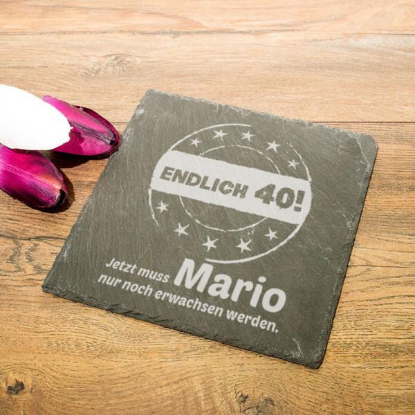 Personalisierte eckicke Schieferplatte zum 40.