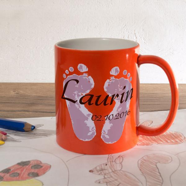 Personalisierte orange Zaubertasse für Kinder
