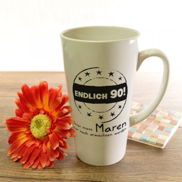 Personalisierte große Tasse Latte zum 90.