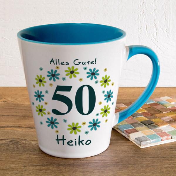 Tasse FUNNY Latte klein mit Wunschmotiv zum 50.