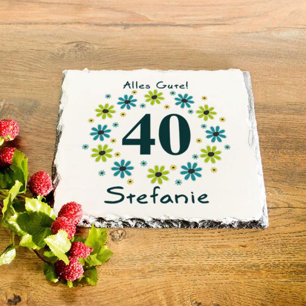 Personalisierte Granitplatte zum 40.