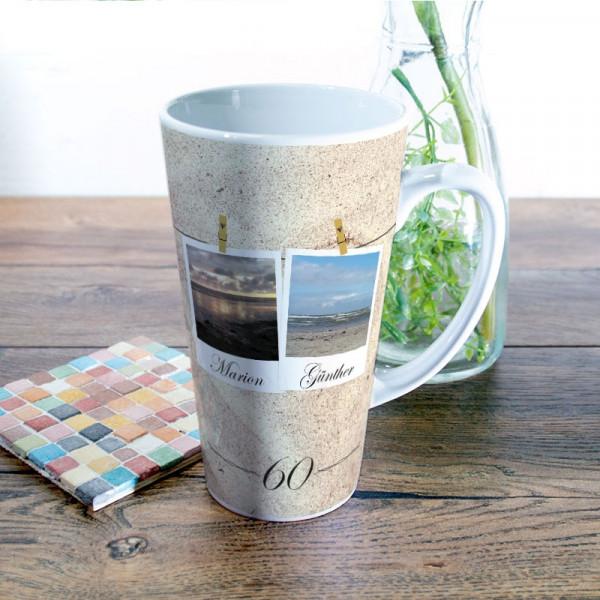 Große Tasse Latte mit Wunschmotiv zur Diamantenen Hochzeit
