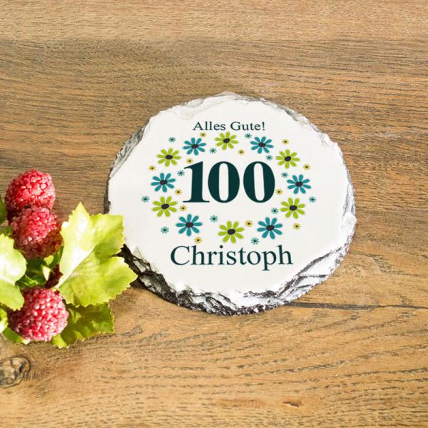 Runder Tassenuntersetzer aus Granit mit Wunschmotiv zum 100.