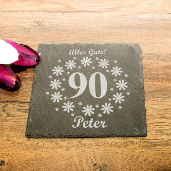 Eckige Schieferplatte mit Wunschmotiv zum 90.