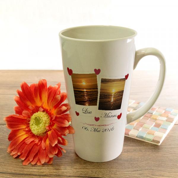 Große Tasse Latte zur Hochzeit mit Wunschmotiv