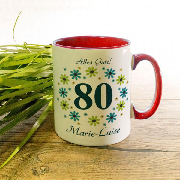 Personalisierte Tasse zum 80.